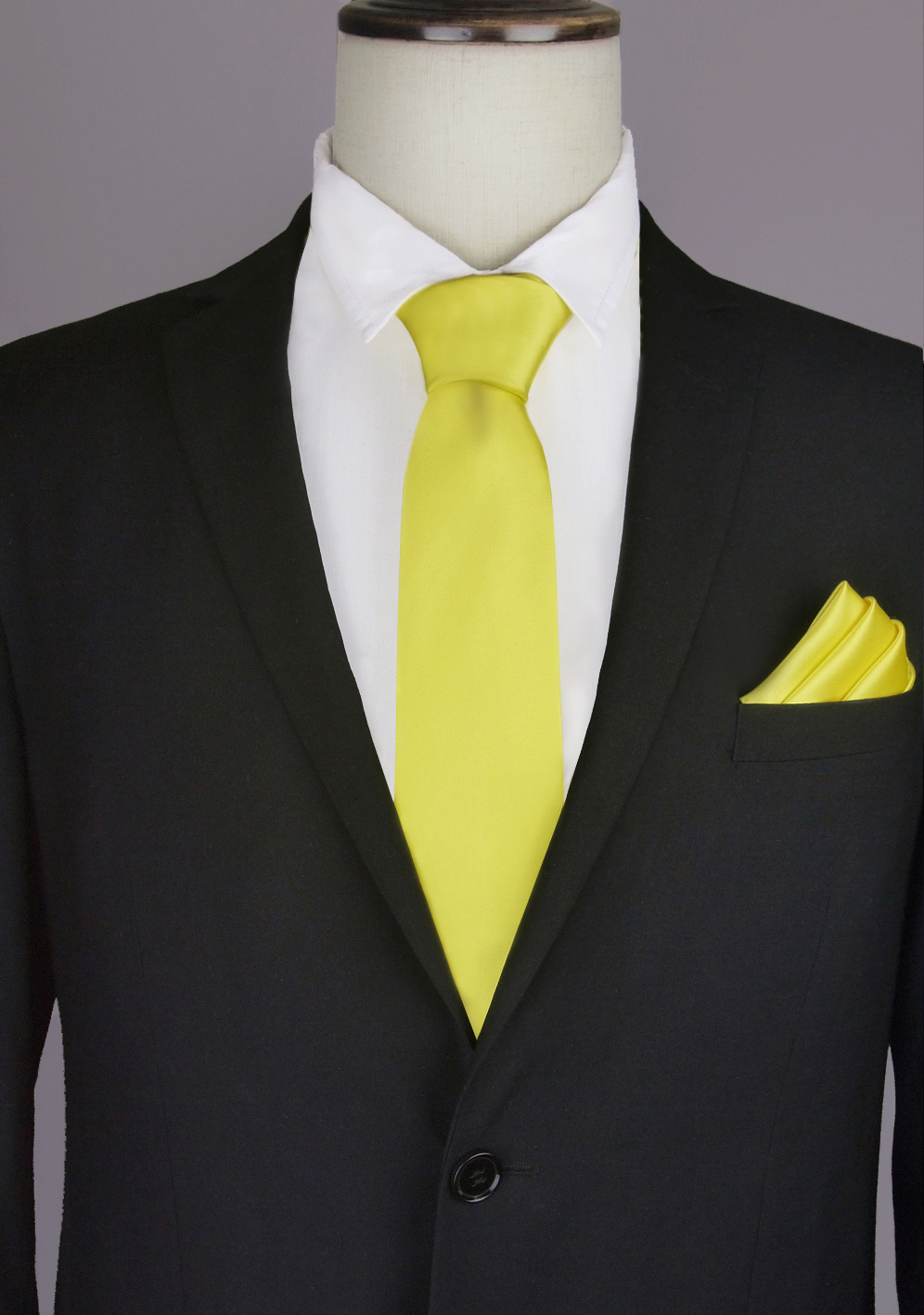 Bright Yellow Tie & Pocket Square