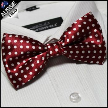 DARK RED WITH WHITE POLKA DOTS BOW TIE