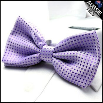 LAVENDER WITH PURPLE POLKADOTS BOW TIE