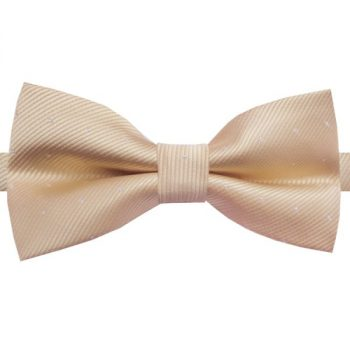BEIGE WITH SMALL POLKA DOTS BOW TIE