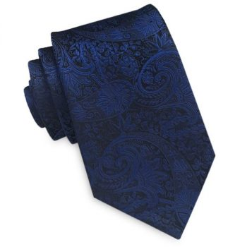 BLACK WITH BLUE PAISLEY TIE