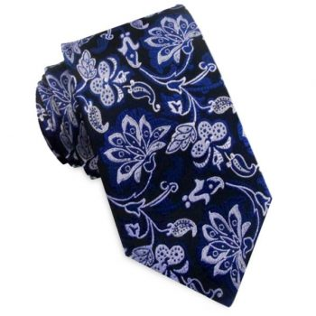 BLACK WITH SILVER & BLUE FLORAL TIE