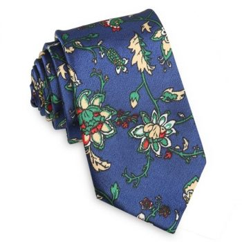 BLUE WITH TAN AND WHITE FLORAL SLIM TIE