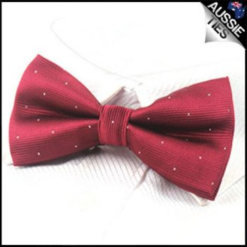 BURGUNDY WITH SMALL POLKA DOTS BOW TIE
