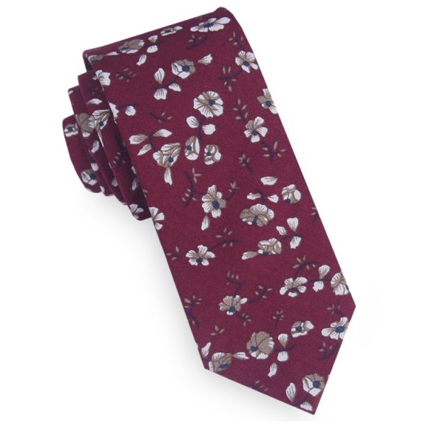 BURGUNDY WITH WHITE FLORAL MENS SKINNY TIE