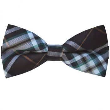 DARK BROWN WITH GREEN, WHITE & COPPER PLAID BOW TIE