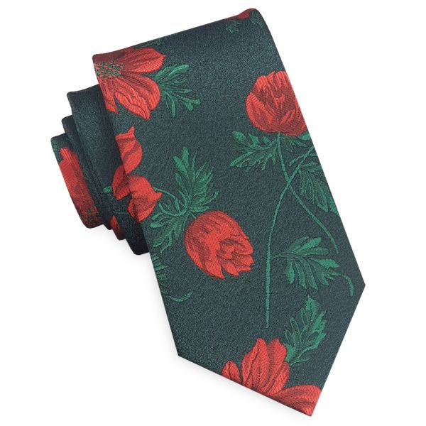 GREEN WITH RED AND GREEN FLORAL SLIM TIE