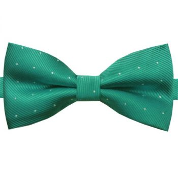 EMERALD GREEN WITH SMALL POLKA DOTS BOW TIE