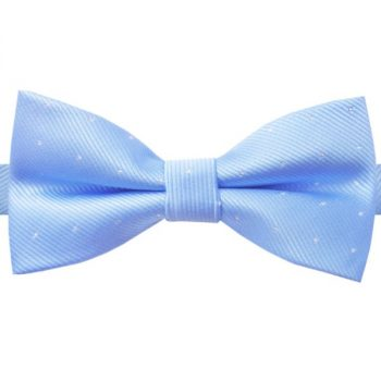 LIGHT BLUE WITH SMALL POLKA DOTS BOW TIE