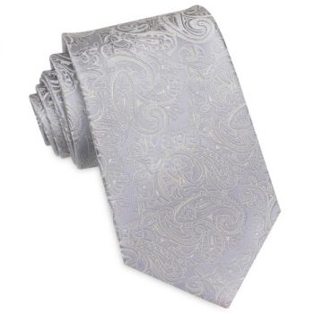 LIGHT SILVER WITH IVORY PAISLEY MENS TIE