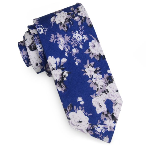 MID BLUE WITH WHITE AND LILAC FLORAL PATTERN MEN'S SKINNY TIE