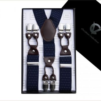 MIDNIGHT BLUE PIN DOT LEATHER ATTACHMENT LARGE BRACES Y3.5CM