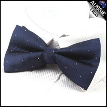 MIDNIGHT BLUE WITH SMALL POLKA DOTS BOW TIE