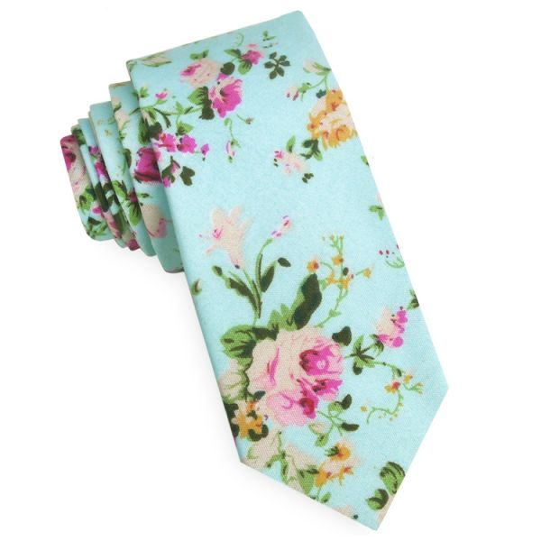 MINT WITH FLORAL PATTERN MEN'S SKINNY TIE