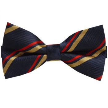 NAVY BLUE WITH RED & YELLOW STRIPES BOW TIE