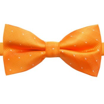 ORANGE WITH SMALL POLKA DOTS BOW TIE
