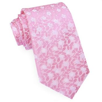 PINK WITH PINK & WHITE FLORAL MEN'S TIE