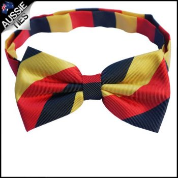 MENS RED, BLACK & YELLOW STRIPES BOW TIE