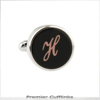 SINGLE BLACK WITH ROSE GOLD INITIAL H CUFFLINK