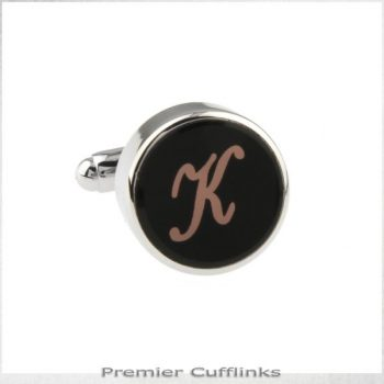 SINGLE BLACK WITH ROSE GOLD INITIAL K CUFFLINK