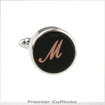 SINGLE BLACK WITH ROSE GOLD INITIAL M CUFFLINK