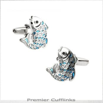 SILVER AND TURQUOISE FISH CUFFLINKS