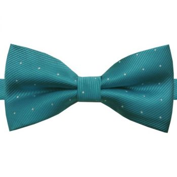 TEAL GREEN WITH SMALL POLKA DOTS BOW TIE