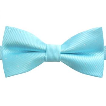 TURQUOISE WITH SMALL POLKA DOTS BOW TIE