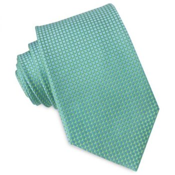 TURQUOISE WITH GREEN & YELLOW SQUARES MENS TIE