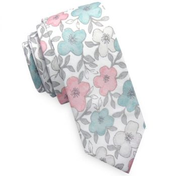 WHITE WITH PASTEL FLORAL MENS SKINNY TIE