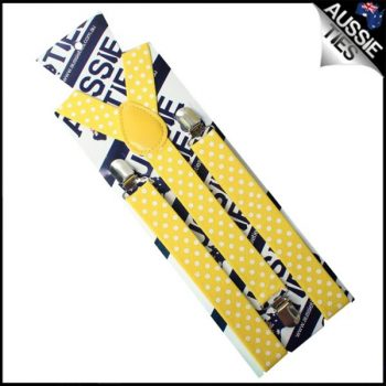 YELLOW WITH WHITE POLKA DOTS BRACES SUSPENDERS