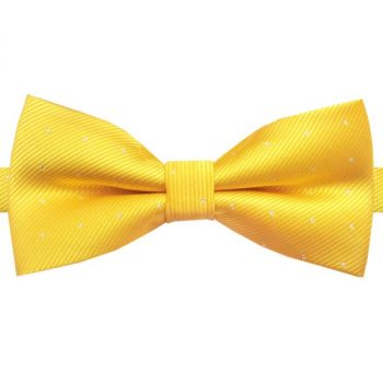 YELLOW WITH SMALL POLKA DOTS BOW TIE