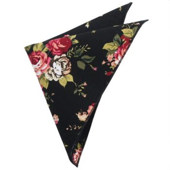 BLACK WITH WHITE & PINK FLOWERS POCKET SQUARE