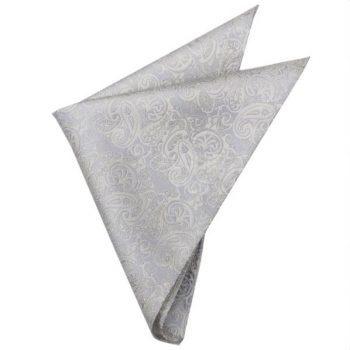 LIGHT SILVER WITH IVORY PAISLEY POCKET SQUARE