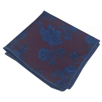 MAROON WITH BLUE FLORAL POCKET SQUARE