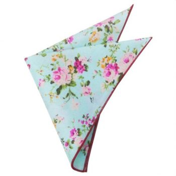 MINT WITH FLORAL PATTERN POCKET SQUARE