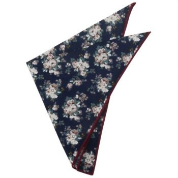 NAVY WITH DUSKY PINK & WHITE FLORAL PATTERN POCKET SQUARE