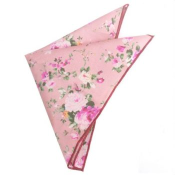 PINK WITH FLORAL PATTERN POCKET SQUARE