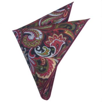 RED, BLACK, YELLOW & GREEN FLORAL POCKET SQUARE