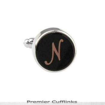 SINGLE BLACK WITH ROSE GOLD INITIAL N CUFFLINK