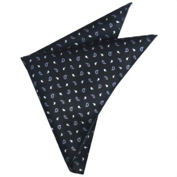 TEXTURED BLACK WITH GREY & WHITE PAISLEY POCKET SQUARE