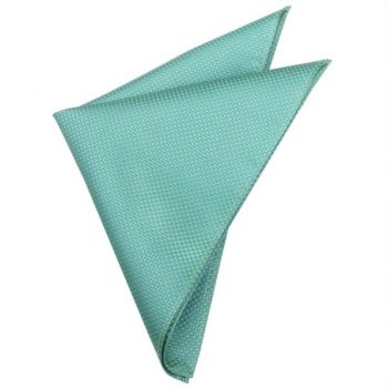 TURQUOISE WITH GREEN & YELLOW SQUARES POCKET SQUARE