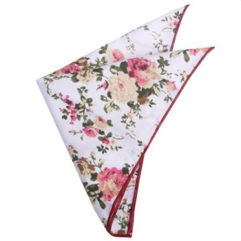 WHITE WITH PINK & APRICOT FLORAL POCKET SQUARE