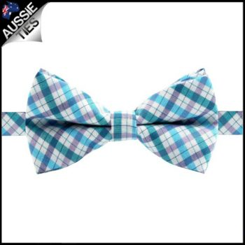 BOYS BLUE, GREEN, PURPLE AND WHITE GINGHAM BOW TIE
