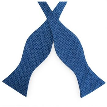 Dark Blue With Turquoise Pattern Self Tie Bow Tie