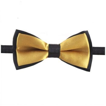 GOLD WITH BLACK BACK BOY'S BOW TIE