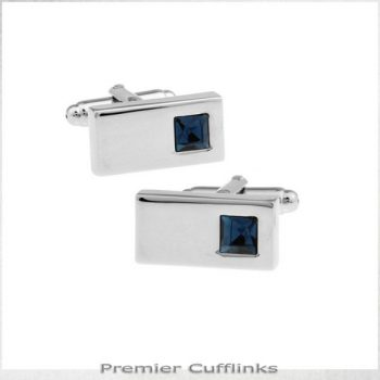 Silver Rectangle With Topaz Inset Cufflinks